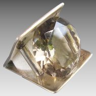 Modernist Style Artisan Signed Silver Ring Huge Faceted Champagne Color Stone