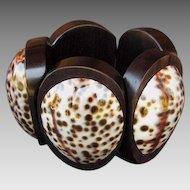 HUGE Monies Cowry Shell & Wood Bracelet