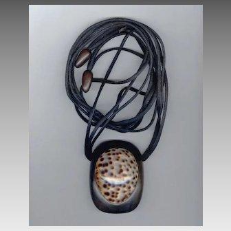 HUGE Monies Cowry Shell & Wood Pendant Necklace