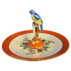 Noritake Dessert Plate with 3 Dimensional Bird Perched on Handle