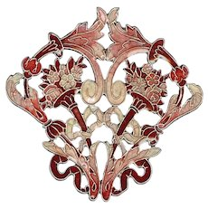 Intricate Pierre Bex Art Nouveau Style Enameled Pin