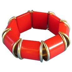 Cool Vintage Red Bakelite Stretch Bracelet