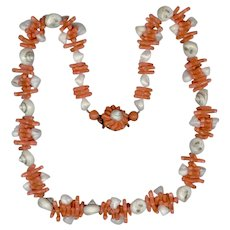 Novelty Western Germany Shell & Faux Coral Necklace