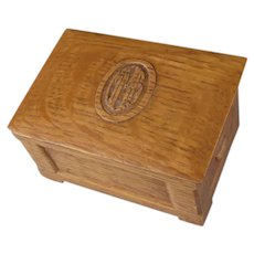Charming Miniature Hand Carved Oak Box Dated 1927