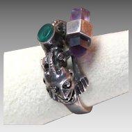 Fantastic Sterling Silver Ring Fantasy Devil / Dragon Creature, Amethyst Crystal, Green Cabochon