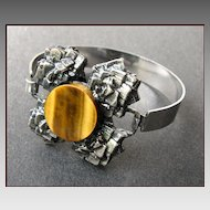 Modernist Sterling Silver & Tiger's Eye Bracelet