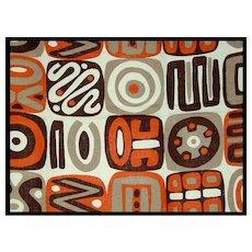 Wild Orange, Brown, Tan Abstract Print BARKCLOTH