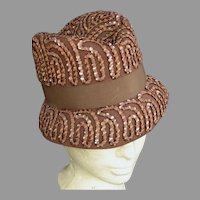 Sequined Tan Felt Vintage Hat