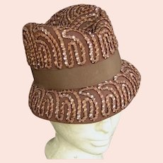 Sequined Tan Felt Vintage Hat
