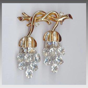 Trifari Alfred Philippe Clear Crystal Wisteria Blossom Pin