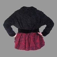 Museum Quality Vintage Wool Passementerie Black & Red Jacket