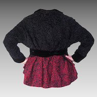 Museum Quality Vintage Wool Passementerie Black & Red Jacket