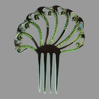 Exquisite Vintage Celluloid & Rhinestone Hair Comb