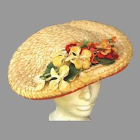 WIDE Basket Of Flowers Vintage Hat