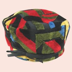 Vintage Abstract Pattern Multicolor Plush Hat