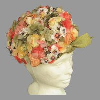 Colorful Vintage Schiaparelli Flower Garden Hat