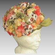 Colorful Vintage Schiaparelli Flower Garden Hat
