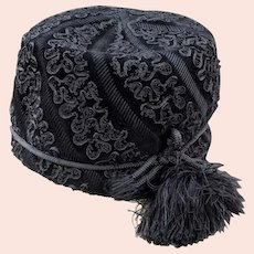 Elegant MR. JOHN Black Felt Hat with Passementerie Decoration