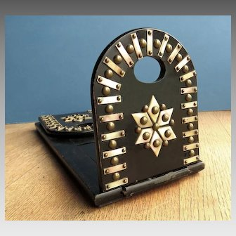 Fancy Mother of Pearl and Wood Victorian Sliding Bookholder