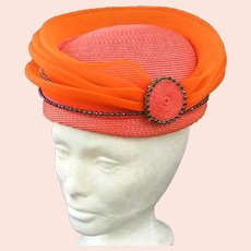 "Quirky Vintage Orange/Coral ""Rings Of Saturn"" Hat"