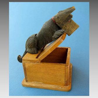 Charming Vintage Articulated Hand-Carved Wood Scottie / Schnauzer Dog Wood Box
