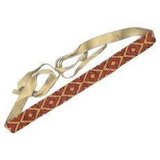 BOLD Vintage Native American Beaded Necklace / Hat Band / Belt on Deerskin