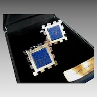 MINT Lanvin Paris Modernist Style Lapis & Silver Tone Metal Cufflinks in Original Box