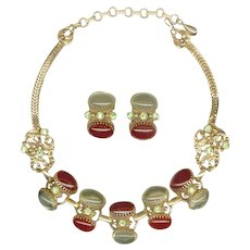 SELRO Root Beer & Champagne Color Cabochons Necklace & Earrings Set