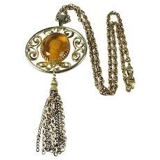 Vintage 1970s Glass Intaglio Cameo Large Pendant Necklace