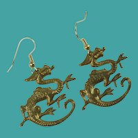 Vintage Dragon Copper Pierced Earrings