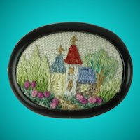 Vintage Hand Embroidered Church Scene Brooch