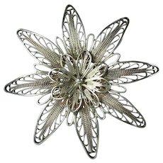Vintage Silver Filigree Flower Hallmarked Brooch