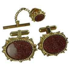 Vintage Sherman Senator Goldstone Cufflinks & Tie Pin Set