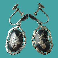 Vintage Siam Sterling Silver Nielloware Earrings