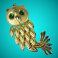 Vintage Large Articulated Gold Tone Owl Pendant