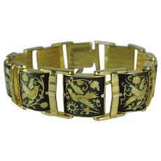 Vintage Spanish Damascene Birds and Flowers Tank Link Bracelet