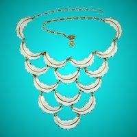Vintage Vendome White Feather Design Bib Necklace