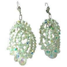 Vintage Crystal Bead Aurora Borealis Statement Earrings