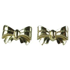 Vintage 14 Karat Yellow Gold Pierced Bow Earrings