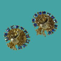 Vintage Rhinestone Peacock Clip Earrings