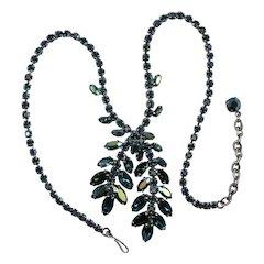 Vintage Teal Aurora Borealis Rhinestone Necklace