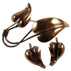 Vintage Renoir Copper Leaves Brooch Earrings Set