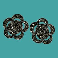 Vintage Marcasite Sterling Silver Flower Earrings
