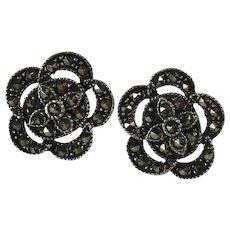Vintage Marcasite Sterling Silver Flower Earrings