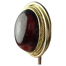 Antique Victorian 14k Gold Heavy Garnet Stick Pin