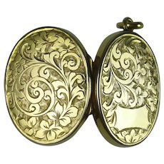 Antique Double Photo Etched Oval Locket