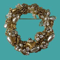 Vintage Original by Robert Imitation Pearl Rhinestone Brooch