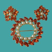 Vintage Orange Crystal Rhinestone B David Brooch and Earrings Set