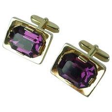 Vintage Purple Crystal Gold Tone Cufflinks