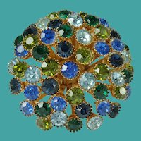 Vintage Rhinestone Green Blue Domed Brooch